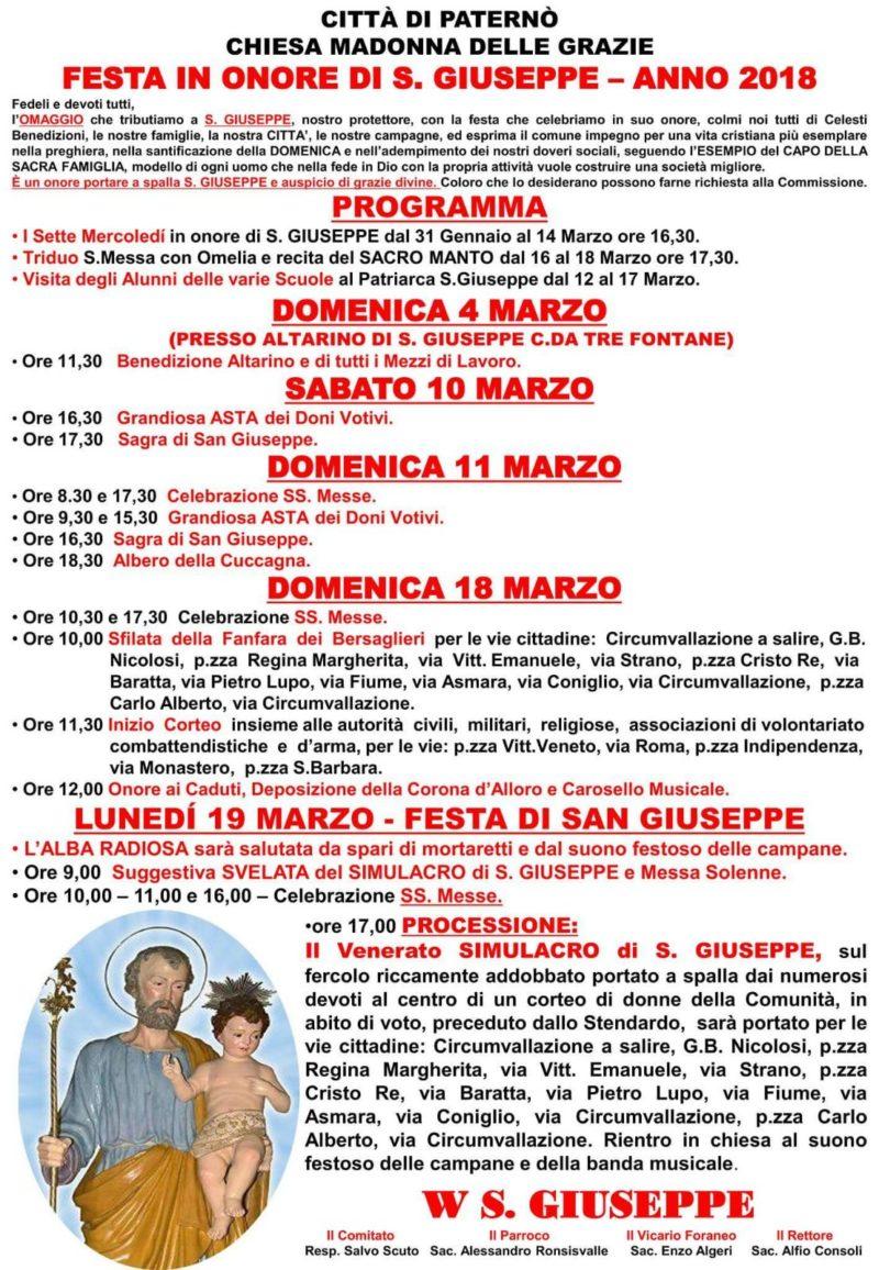 Da Domenica a Paternò il via ai festeggiamenti di San Giuseppe