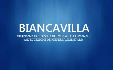 BIANCAVILLA:ORDINANZA DI CHIUSURA DEL MERCATO SETTIMANALE  (AD ECCEZIONE DEI GENERI ALIMENTARI)