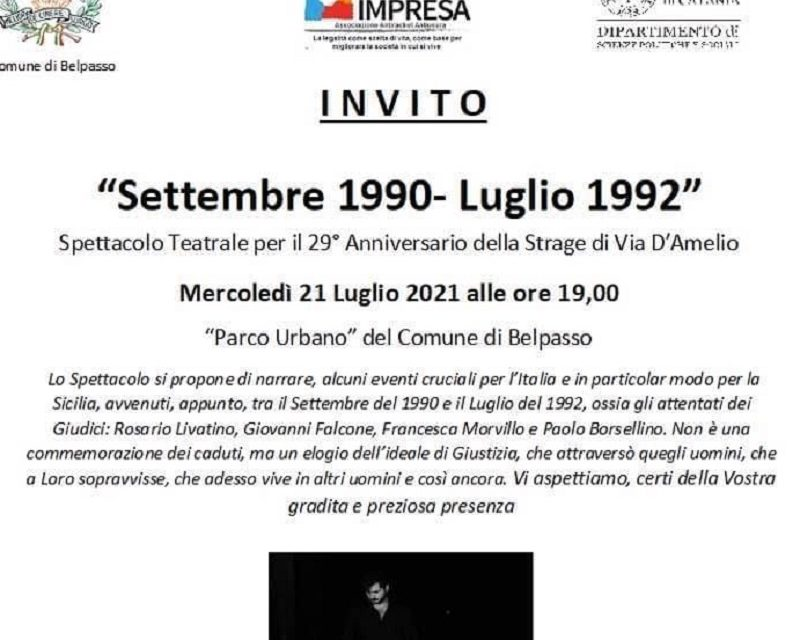 """BELPASSO: OMAGGIO AI GIUDICI, STASERA LO SPETTACOLO """"SETTEMBRE 1990 – LUGLIO 1992"""""""