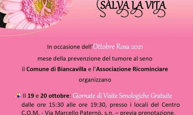 BIANCAVILLA: 19 E 20 OTTOBRE VISITE SENOLOGICHE GRATUITE AL COM